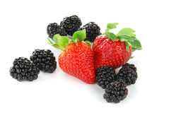 Blackberries and strawberries Royalty Free Stock Photography