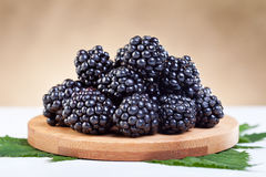 Blackberries on wooden plate Stock Photography