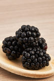 Blackberries on a wooden spoon. Vertically Royalty Free Stock Photo