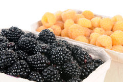 Blackberries and yellow raspberries Royalty Free Stock Image