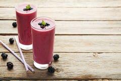 Blackberries yogurt Stock Photos
