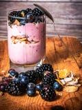 Blackberries and Yogurt Royalty Free Stock Photo