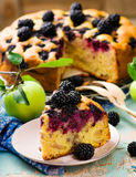Blackberry and apples pie. Style vintage. selective focus Royalty Free Stock Images