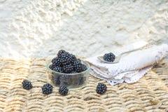 Blackberry avec le fond naturel Photos stock