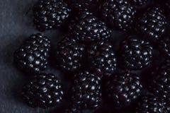 Blackberry bakgrund Closeup av nya björnbär på svart t Royaltyfri Fotografi