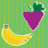 Blackberry and banana. Banana and blackberry fruits on special green background Royalty Free Stock Images