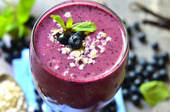 Blackberry and banana smoothie. Royalty Free Stock Photo