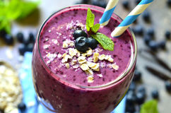 Blackberry and banana smoothie. Royalty Free Stock Images