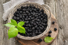Blackberry in big basket on wooden table Stock Photo