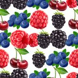 Blackberry blueberry cherry and raspberry seamless pattern. 3d realistic vector berries. Food background royalty free illustration
