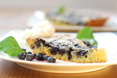 Blackberry cake. A piece of blackberry cake decorated with whipped cream Royalty Free Stock Images