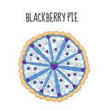Blackberry cake, birthday cake. Baking with blackberries. vector illustration.  Stock Photography
