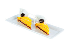 Blackberry on the cake macro Stock Image