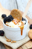 Blackberry Caramel Sundae Royalty Free Stock Photo