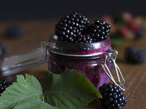 Blackberry chia pudding. Royalty Free Stock Images