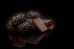 Blackberry chocolate Stock Images