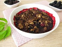 Blackberry chocolate crumble Royalty Free Stock Photography