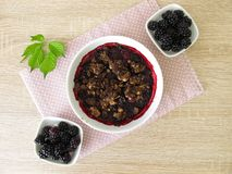 Blackberry chocolate crumble Stock Images