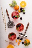 Blackberry citrus margaritas. With bartender tools overhead shot Stock Image