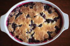 Blackberry cobbler. View from above of a blackberry cobbler stock image