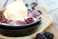 Blackberry Cobbler in Skillet Stock Images
