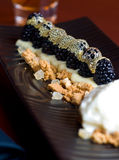 Blackberry crumble dessert Stock Photos