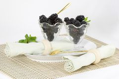 Blackberry dessert. The plain simple blackberry becomes an elegant dessert if served with style Stock Image
