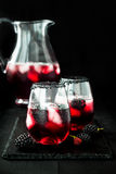 Blackberry drink in glasses with black sugar rim for fall and halloween parties. Stock Image