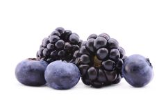 Blackberry e mirtilo isolados no fundo branco Fotos de Stock