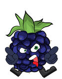 Blackberry fruit cartoon illustration Stock Photos
