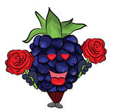 Blackberry fruit cartoon illustration Stock Images