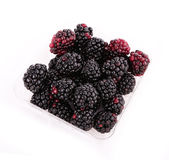 Blackberry fruit in plastic box isolated on white Royalty Free Stock Photo