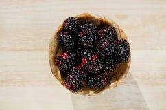 Blackberry fruit. On wood table Stock Image