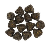Blackberry gevormd suikergoed op een witte achtergrond stock fotografie