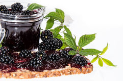 Blackberry Jam on a bread against white Stock Photography