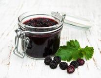 Blackberry jam and fresh blackberries Stock Photo