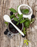 Blackberry Jam with fresh fruits Stock Photos