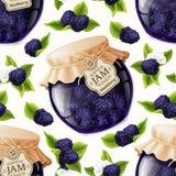 Blackberry jam glass. Natural organic homemade forest blackberry jam jar seamless pattern vector illustration vector illustration