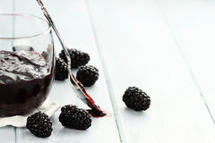 Blackberry Jam and Spoon Stock Photo