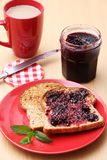 Blackberry Jam on Toast Royalty Free Stock Image
