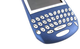 Blackberry keypad. Blackberry colored blue with focus on keyboard isolated Stock Photo