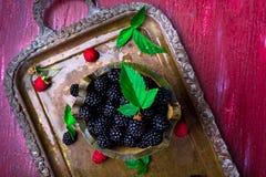 Blackberry with leaf in a basket on vintage metal tray. Top view. Blackberry with leaf in a basket on vintage metal tray. Top view Stock Photos