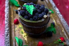 Blackberry with leaf in a basket on vintage metal tray. Top view.  Close up. Blackberry with leaf in a basket on vintage metal tray. Top view.  Close up Royalty Free Stock Photo