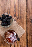Blackberry Liqueur in a shot glass Stock Photography