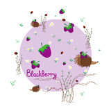 Blackberry meadow with animals. Forest background. Print for children. Background for kids Royalty Free Stock Photos
