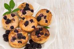 Blackberry-muffins op een plaat Stock Afbeelding