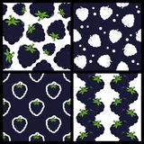 Blackberry or Mulberry Seamless Patterns Royalty Free Stock Images