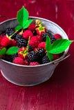 Blackberry och hallonet i en metall bowlar på röd träbakgrund Royaltyfri Foto