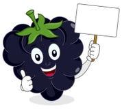 Blackberry ou mûre heureux avec la bannière Photo libre de droits