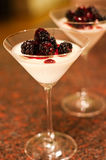 Blackberry Panna Cotta dessert. Royalty Free Stock Images